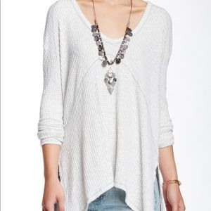 Free People Sunset Park Thermal Top Ivory XS
